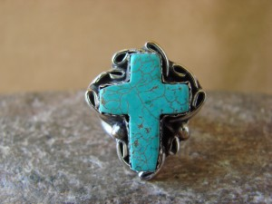 Native American Nickle Silver Turquoise Ring Size 5 1/2, by Phoebe Tolta