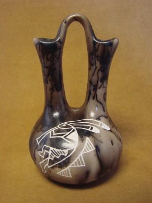 Native American Pottery Horse Hair Kokopell Wedding Vase by Gary Yellow Corn!