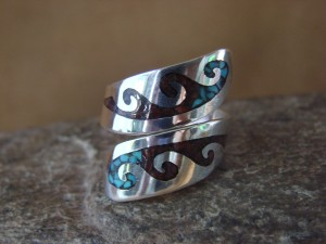 Native Indian Jewelry Sterling Silver Chip Inlay Ring, Adjustable! Yazzie
