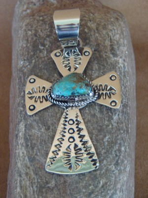 Native American Jewelry Nickel Silver Turquoise Pendant by Jackie Cleveland!