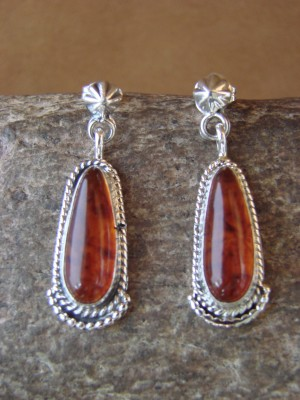 Native American Jewelry Sterling Silver Amber Dangle Earrings! R. Antonio