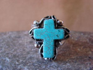 Native American Nickle Silver Turquoise Ring Size 7, by Phoebe Tolta