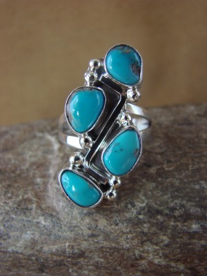 Native American Jewelry Sterling Silver Turquoise Ring! Size 8 1/2 Roberta Begay