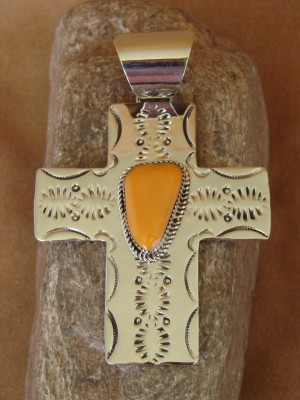 Native American Nickle Silver & Spiny Oyster Cross Pendant Jackie Cleveland