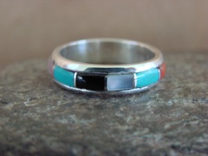 Zuni Indian Sterling Silver Multistone Channel Inlay Band Ring by Kanesta Size 6 1/2
