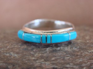 Zuni Indian Sterling Silver Turquoise Inlay Ring by Natchu Size 7 1/2
