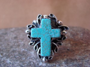 Native American Nickle Silver Turquoise Ring Size 6 1/2, by Phoebe Tolta
