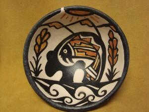 Santo Domingo Kewa Handmade & Painted Bear Fish Bowl By Billy Veale!