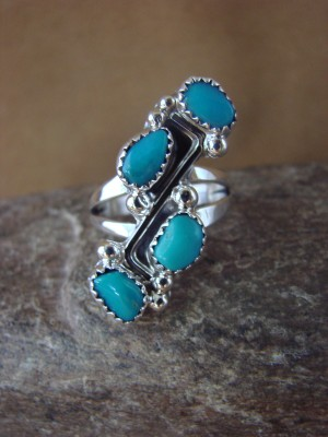 Native American Jewelry Sterling Silver Turquoise Ring! Size 8 Roberta Begay