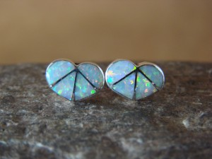 Zuni Indian Jewelry Sterling Silver Opal Inlay Heart Post Earrings!