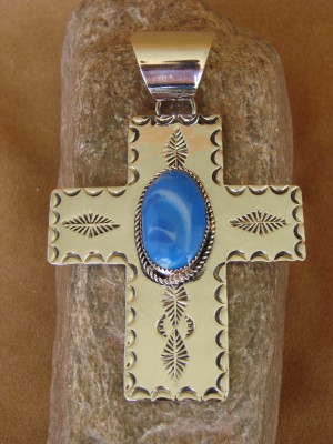 Native American Nickle Silver & Blue Howlite Cross Pendant Jackie Cleveland