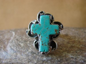 Native American Nickle Silver Turquoise Ring Size 6, by Phoebe Tolta