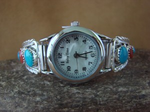 Native American Indian Jewelry Sterling Silver Turquoise Watch by Etta Larry