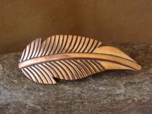 Navajo Indian Jewelry Copper Feather Hair Barrette by Douglas Etsitty!