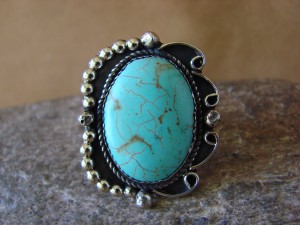 Native American Nickle Silver Turquoise Ring Size 7 1/2, by Phoebe Tolta