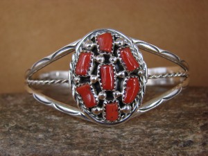 Native American Indian Jewelry Sterling Silver Coral Cluster Bracelet
