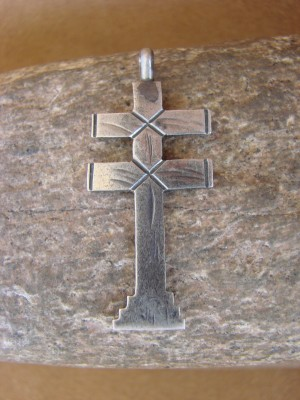 Navajo Indian Hand Stamped Sterling Silver 2 Sided Cross Pendant! Virgil Begay
