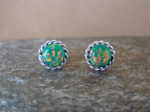 Native American Jewelry Sterling Silver Opal Post Earrings! Zuni Indian