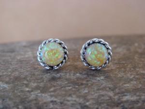 Native American Jewelry Sterling Silver Opal Post Earrings! Zuni Indian
