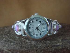 Native American Indian Jewelry Sterling Silver Opal Watch by Etta Larry