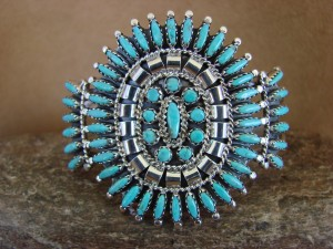 Native American Navajo Jewelry Sterling Silver Petite Point Turquoise Cluster Bracelet! Nez