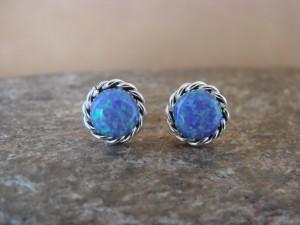 Native American Jewelry Sterling Silver Blue Opal Post Earrings! Zuni Indian