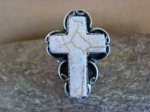 Native American Nickle Silver White Buffalo Turquoise Cross Ring Size 7 by Phoebe Tolta