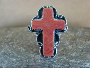 Native American Nickle Silver Apple Coral Cross Ring Size 7 by Phoebe Tolta