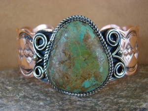 Native American Jewelry Copper Turquoise Bracelet by Jackie Cleveland!