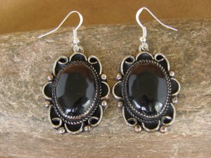 Native American Nickel Silver Black Onyx Dangle Earrings by Jackie Cleveland