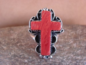 Native American Nickle Silver Apple Coral Cross Ring Size 8 by Phoebe Tolta