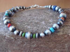 Navajo Indian Sterling Silver Hand Beaded Bracelet