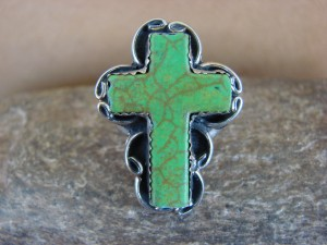 Native American Nickle Silver Gaspeite Cross Ring Size 6 1/2 by Phoebe Tolta