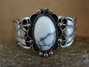Native American Jewelry Nickel Silver Howlite Bracelet by Jackie Cleveland!