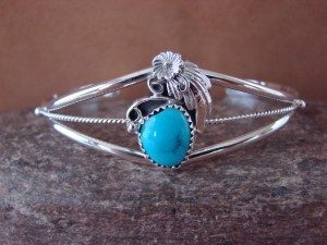 Navajo Indian Jewelry Sterling Silver Turquoise Bracelet by R. Pino
