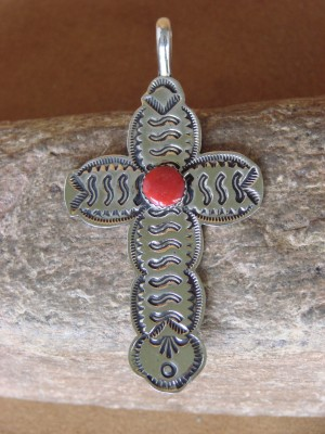 Native American Nickle Silver & Coral Cross Pendant Albert Cleveland