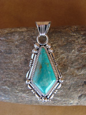 Native American Jewelry Sterling Silver Turquoise Pendant! Daniel Benally