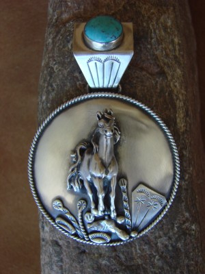 Native American Indian Sterling Silver Turquoise Horse Pendant