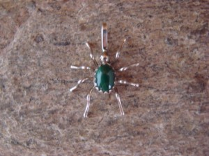 Small Navajo Indian Sterling Silver Malachite Spider Pendant by Spencer! Jewelry