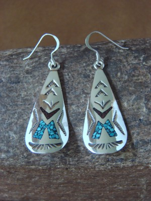 Navajo Indian Jewelry Sterling Silver Chip Inlay Dangle Earrings by J. Yazzie