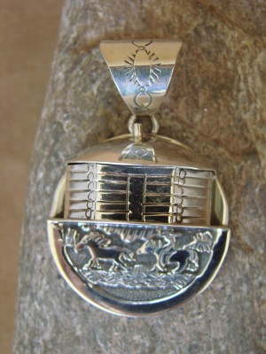 Native American Jewelry Sterling Silver Storyteller Pendant by Billy