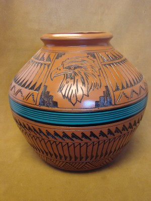 Navajo Indian Pottery Hand Etched Eagle Pot by Watchman! Native American