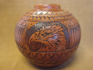 Navajo Indian Pottery Hand Etched Eagle Pot by Watchman! Native American PT3923