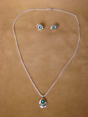 Native American Sterling Silver Turquoise Bear Paw Earrings & Necklace Set!