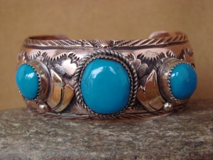 Native American Jewelry Hand Stamped Copper Turquoise Bracelet - Albert Cleveland
