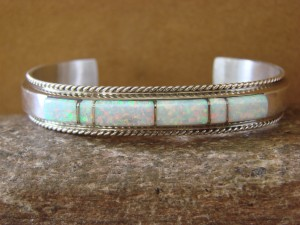 Native American Handmade Jewelry Sterling Silver White Lab Opal Bracelet!