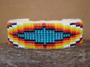 Native American Indian Jewelry Hand Beaded Bracelet by Lucille Ramone