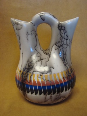 Navajo Indian Horse Hair Hand Etched Painted Wedding Vase!