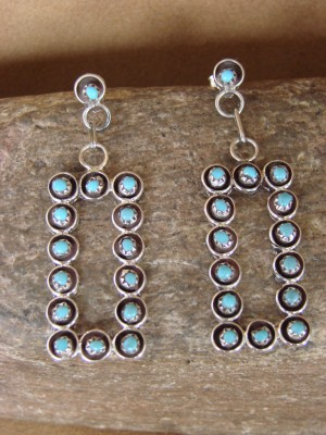 Zuni Indian Jewelry Sterling Silver Turquoise Post Dangle Earrings! Handmade