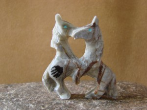 Zuni Indian Hand Carved Two Horse Stallions Fetish by Carol Martinez